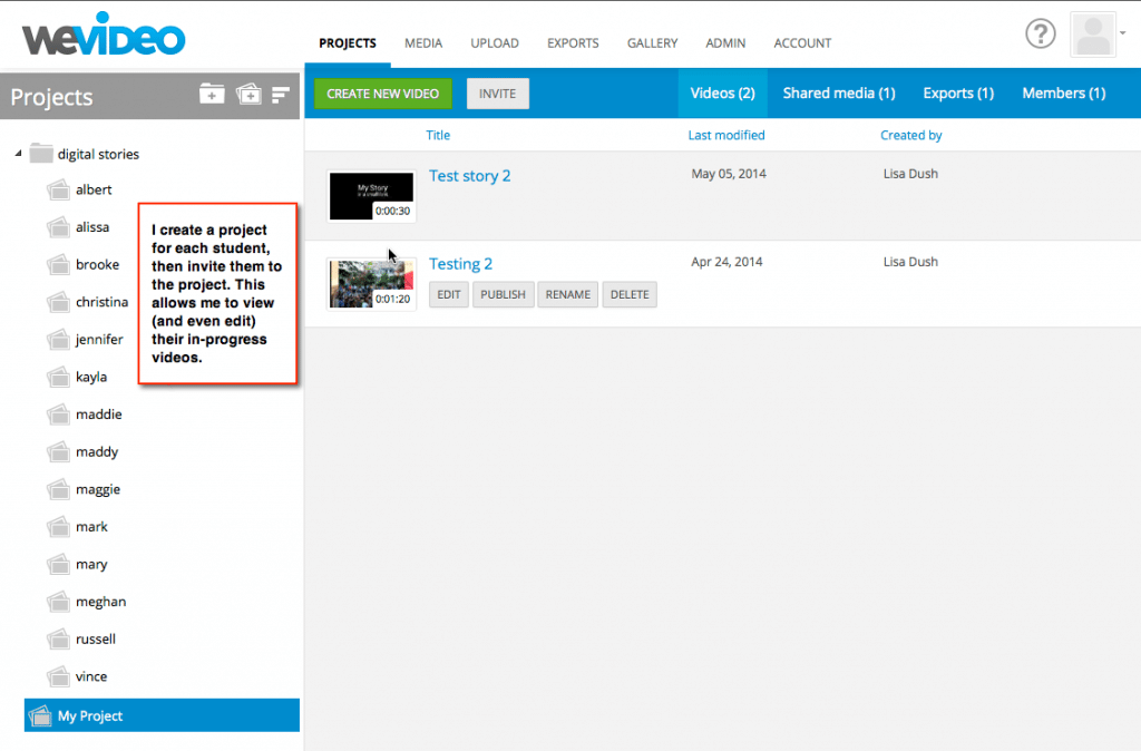 Managing Student Projects in WeVideo